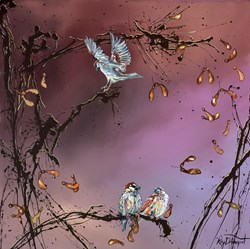 Sweet Sparrows by Kay Davenport - Original Painting on Box Canvas sized 30x30 inches. Available from Whitewall Galleries